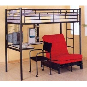 Bunk Bed - Twin / Futon Workstation Bunk Bed in Black - Coaster