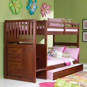 Merlot Twin Twin Staircase Bunk with Trundle