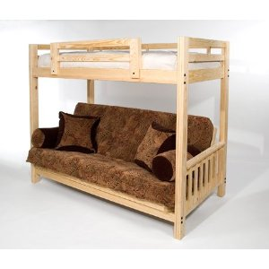 The Ultimate Space Saver: Solid Wood, American-made and Sleeps 3! --- Queen Futon Bunk Bed - Frame Only - Eco-friendly