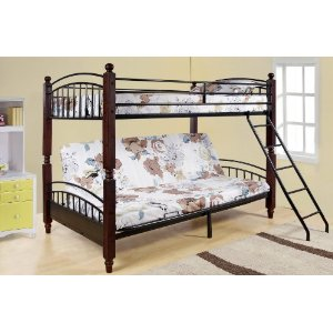 Twin / Full Wood & Metal Convertible Futon Bunk Bed (Bunkbed)