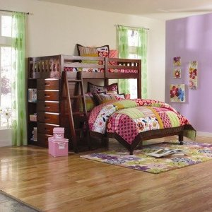 Twin Over Full Loft Bed in Merlot