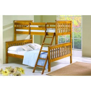 Twin over Full Mission Bunk Bed in Honey