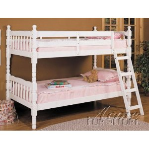 White Finish Twin/twin Convertible Wooden Bunk Bed