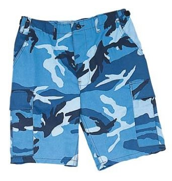 Camouflage Cargo Shorts Sky Blue Camo Military Shorts (MED)