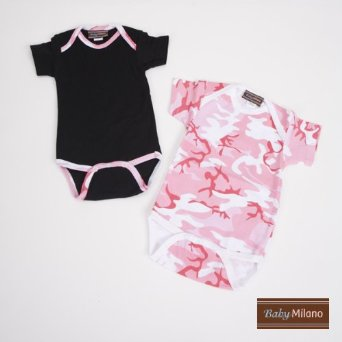 Pink Camo and Black Short Sleeve Baby Onesie Set