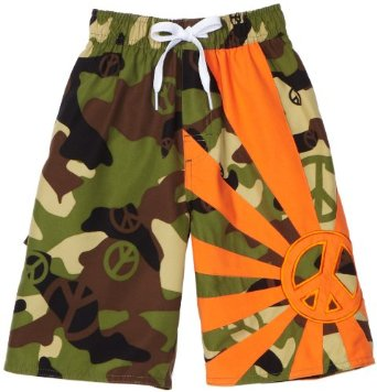 Wes and Willy Boys 8-20 Camo Peace Swim Trunk