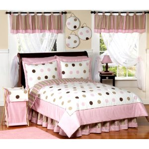 Pink and Brown Modern Dots Childrens Bedding 4pc Twin Set
