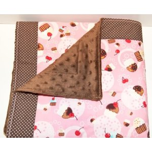 Retro Cherry Cupcake Quilted Baby Blanket