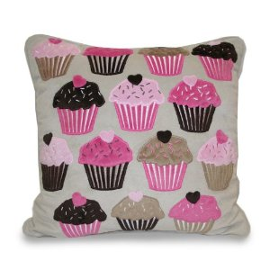 Thro Ltd. All Over Cupcake Applique Pillow, Pink