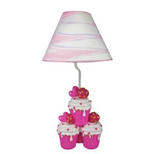 Adorable Hot Pink Strawberry Cupcake Table Lamp