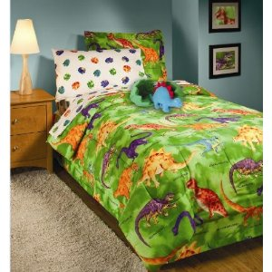 Crayola Dinosaur Green Boys TWIN 3 Piece Comforter Bedding Set