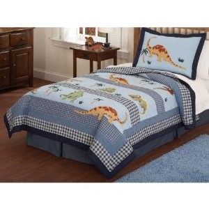 Dino Dave Blue Twin Quilt with Pillow Sham