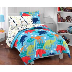 Dinosaur Prints Bright Colors Boys Twin Comforter Set (5 Piece Bed In A Bag)