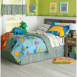Dinosaurs Bedding Set - 6pc Bed-n-Bag Ensemble - Twin Bed