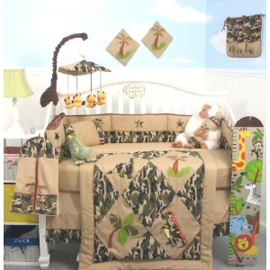 SoHo Camoflage Dinosaur Crib Nursery Bedding 10 Pieces Set ** LIMITED TIME OFFER ! **