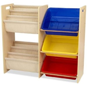 Kidkraft Wooden Sling Bookcase with Primary Bins
