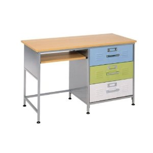 American Furniture Alliance Locker 3 Drawer Desk, Multicolor