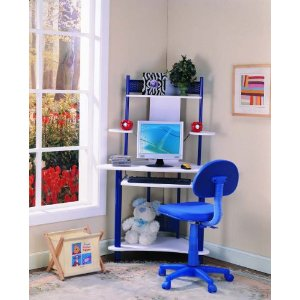 Blue Finish Corner Workstation Children's Computer Desk