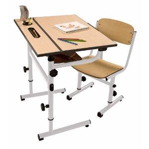 Da Vinci Children S Art Desk White Steel Frame Wood Top And Seat