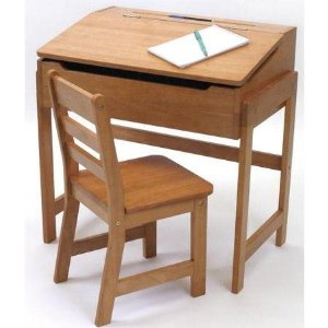 Lipper International Child S Slanted Top Desk And Chair Pecan
