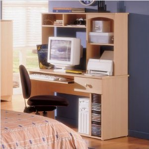 Nexera Alegria Student Desk and Hutch in Maple