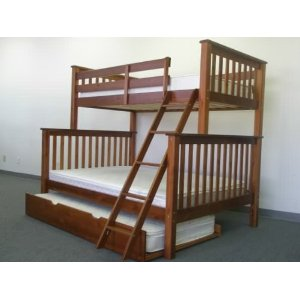 Bunk Bed Twin over Full Mission style in Expresso with Twin Trundle