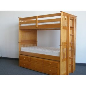 Captains Bunk Bed Twin over Twin with Trundle and Drawers in Honey