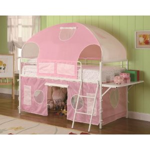 Girls Tent Twin Size Loft Bunk Bed in Light Pink & White Finish