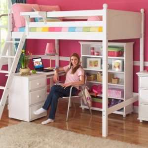 Maxtrix Kids Grand 3 / Giant 3 Full High Loft Bed with Long Desk and 3