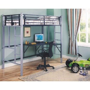 Metal Twin Workstation Loft Bunk Bed (Bunkbed) With Desk