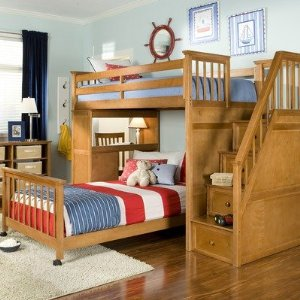 School House Stair Loft Bed in Pecan