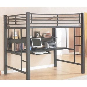 WORKSTATION LOFT BED BLACK FINISH