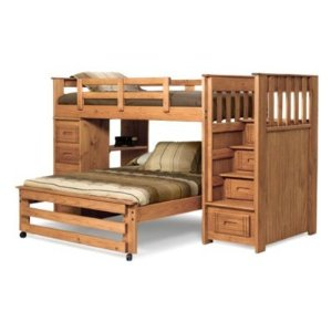 Woodcrest Woody Creek Twin over Full Loft Bed with Stairs - WCM420