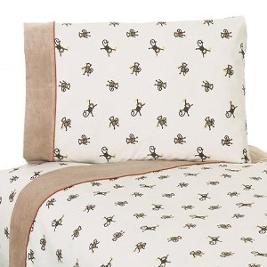 4pc Queen Sheet Set for Monkey Bedding Collection