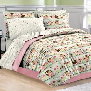 6pc Girl Pink Green Flower Bird Owl Nature Polka Dot Twin Comforter Set (6pc Bed in a Bag)