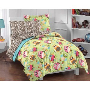 Bright Multicolor Cartoon Hoot Owls Comforter Set