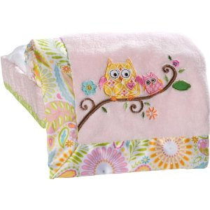 Kids Line Dena Happi Tree Embroidered Boa Blanket, Pink