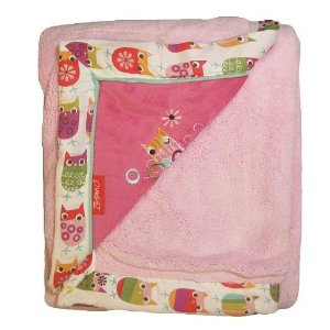 Zutano Owls Embroidered Velour Luxury Blanket, Pink