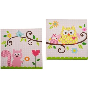 Kids Line Dena Happi Tree 2 Piece Canvas Wall Art, Pink