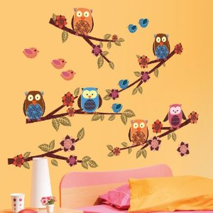Lot 26 Studio ADD-HERES Owls and Branches Wall Stickers, 12 x 24-Inches