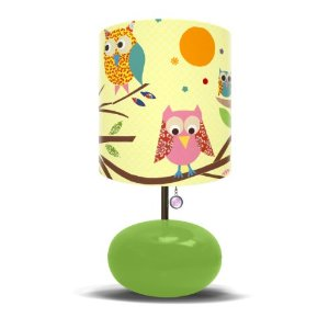 Oopsy Daisy Fine Art for Kids LW-OWLS-GREEN Owls on a Branch Children's Bedroom Lamp