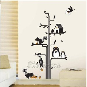 Owls Squirrels Tree - Loft 520 Kids Nursery Home Decor Vinyl Mural Art Wall Paper Stickers