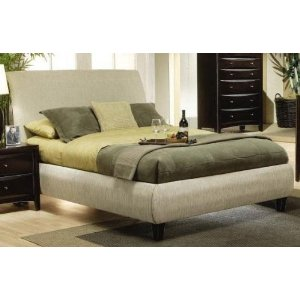 King Size Platform Bed in Beige Fabric