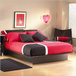 Queen South Shore Cosmos Black Modern Platform Bed