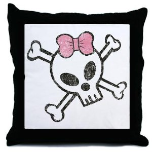 Pink and Black Skeleton Skull with Hairbow Decorative Throw Pillow, 18