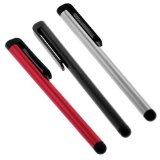 3 Pack Of Universal Touch Screen Stylus Pen (Red + Black + Silver) Lowest Price